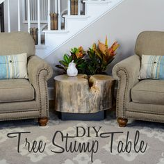 The Husband made this rustic tree stump table with the stump from a gorgeous River Birch we had to have cut down last spring...