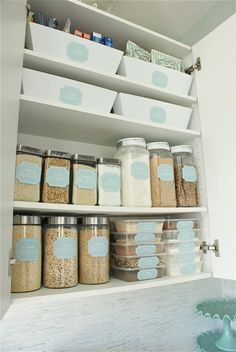Dollar Store Pantry Makeover. Blogger kitted out her pantry and refrigerator with fantastic finds from the dollar store. She has some pretty printable labels on her site as well.