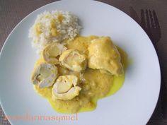 Rollitos de pollo y manzana con salsa de curry