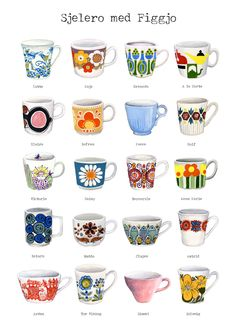 Figgjo Flint - Retro Designs ~ I really like all the bold colors and funky designs on these dishes. Vintage Cups, Vintage Tea, Retro Vintage, Vintage Coffee, Vintage Pottery, Vintage Ceramic, Vintage Kitchenware, Stavanger, Mocca