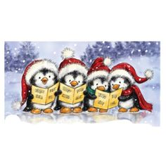 Wild Rose Studio - Singing Penguins Clear Stamp now available at The Rubber Buggy Christmas Rock, Christmas Scenes, Christmas Pictures, Winter Christmas, Vintage Christmas, Christmas Holidays, Christmas Crafts, Christmas Decorations, Xmas
