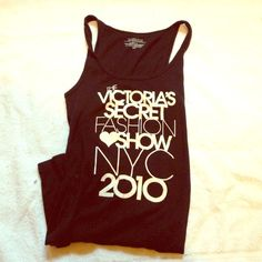 Victoria's Secret 2010 Fashion Show Tank Top Worn maybe once. Authentic VS 2010 fashion show tank. Black with shiny white lettering. All lettering is intact, but the heart is a bit weathered. 92% cotton & 8% spandex. Stretchy. Size medium, but would fit a small better. Victoria's Secret Tops Tank Tops