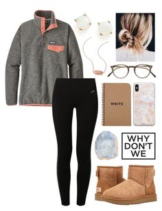 """Untitled #95"" by alyssa-wilsonn ❤ liked on Polyvore featuring Bloomingdale's, Patagonia, NIKE, UGG, Kendra Scott, Oliver Peoples, Recover and Brika"