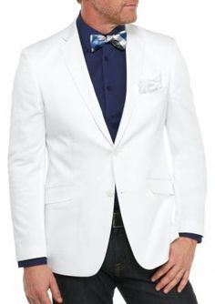 Madison White Slim-Fit White Solid Motion Stretch Sport Coat