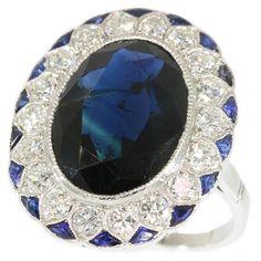 Sapphire Ring Large natural dark blue sapphire ring platinum