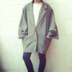 EnricoCoveri color Sage Green Jacket oversize   vintage afro picks