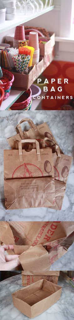 Take a brown paper bag and roll down the rim to create a great all-purpose storage container. Surprisingly sturdy. Less expensive than baskets or plastic shoe boxes. http://www.auntpeaches.com/2014/01/paper-bag-organizers.html