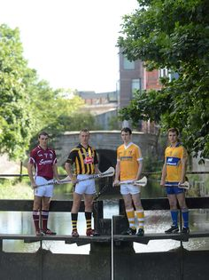 Bord Gais Energy Ambassadors Johnny Coen, #Galway, Cillian Buckley, #Kilkenny, and #Antrim's Conor McCann were accompanied by Patrick O'Connor, Clare in #Dublin ahead of the Bord Gáis Energy #GAA #Hurling Under 21 All-Ireland Semi-Finals 2012.