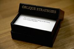 oblique strategies are on amazon!  one of my studio profs in college shared these with us as creative 'solutions' for when we were stuck with our projects, although i find this product too expensive (i think they're available somewhere online as a pdf), as a tactile person i do enjoy shuffling through cards and seeing where a design strategy will take me.  (via wired)