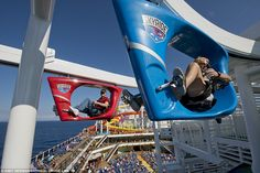 The best #cruise ship amenities revealed: Guests on Carnival Vista can ride around a suspended 2-lane course enjoying amazing views in pedal powered cars!
