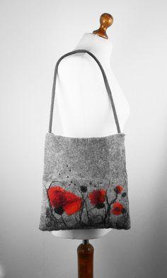 Felted Bag Poppy Handbag Nunofelt Purse Poppy purse wild Felt Nunofelt Nuno felt Silk fairy fantasy shoulder bag Fiber Art boho