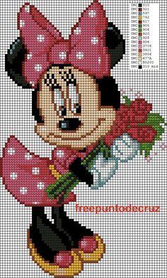 Discover thousands of images about Dibujos Punto de Cruz Gratis: Minnie punto de cruz Cross Stitch Disney Cross Stitch Patterns, Cross Stitch Designs, Afghan Crochet Patterns, Crochet Chart, Hand Embroidery Videos, Embroidery Patterns, Disney Quilt, Disney Stitch, Cross Stitch Baby