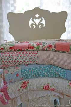 Country quilts, love to use them as table clothes!
