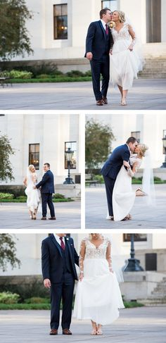 ALLIE + ALEX'S WHITE WEDDING AT THE VAULT // Downtown Columbus, Ohio. Wedding Portraits at The Ohio Statehouse. Bride and Groom Portraits By Brett Loves Elle Photography.