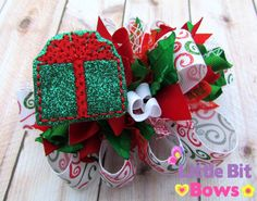 Red Green and White Christmas Present Feltie by LittleBitBows