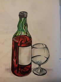 Abstract art. Wine. Glass. Markers & Pastel