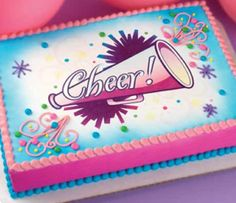 cheerleading cake | cheer cheerleading megaphone cake instructions ice cake white airbrush