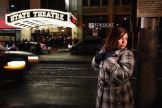 Maryssa's winter senior portrait session at Playhouse Square in Cleveland