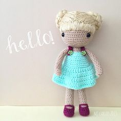"""And she's done. She doesn't have a name yet. Can you suggest a name? Must start with the letter B. #crochet #amigurumi #doll"""