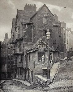 """The junction of Steep Street and Trenchard Street, Bristol, England 1866 [[MORE]] Some detail: John Hill Morgan (b platinum print. """"R Holloway Dealer in Marine Stores"""" Locals would have called this a """"rag and bone shop"""". Victorian London, Victorian Street, Vintage London, London 1800, Victorian Ladies, Vintage Pictures, Old Pictures, Old Photos, Victorian Pictures"""