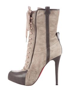 Christian Louboutin Suede Lace-Up Ankle Boots
