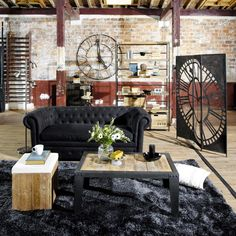 This is definitely my favourite Industrial Living room. The clock partition is fantastic!