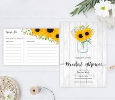 Rustic sunflower wedding shower Invitation with recipe card | mason jar bridal shower invitations printed | Woodsy forest country wedding