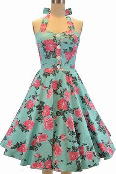 miss mabel sweetheart sun dress - light aqua rose floral