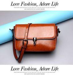 Oil Wax Flap Vintage Genuine Leather Messenger Bags Cross Body Purse