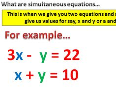 Simultaneous Equations - Elimination