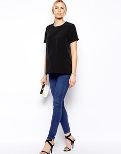 ASOS Maternity | ASOS Maternity Woven T-Shirt With Roll Sleeve at ASOS