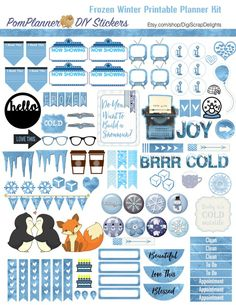 robinsampson_frozen_plannerkit02 Free Planner, Planner Pages, Happy Planner Kit, Planer Organisation, Planners, Printable Planner Stickers, Organizer, Project Life, Scrapbooking