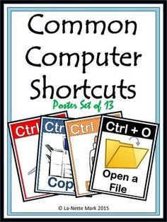 This Common Computer Shortcuts resource contains 13 posters to be used to decorate your room or bulletin board. These are a GREAT reminder for students as they work on their individual assignment!