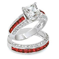 thin red line 7mm princess cut engagement ring set red and clear accents - Firefighter Wedding Rings