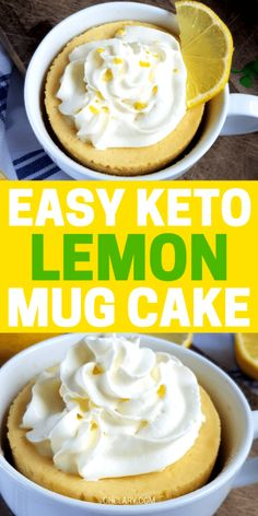 This 2 minute keto lemon mug cake recipe is THE BEST! I'm so happy I learnt how to make this ketogenic lemon mug cake! Now I can always whip up a quick lemon cake for one in less than 90 seconds! Definitely PINNING this for later! Keto Friendly Desserts, Low Carb Desserts, Health Desserts, Mug Recipes, Dessert Recipes, Breakfast Recipes, Homemade Desserts, Homemade Breads, Breakfast