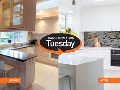 White cabinets and countertops will never go out of style! Cabinets And Countertops, Refacing Kitchen Cabinets, Cabinet Refacing, New Cabinet, Quartz Countertops, White Cabinets, Transformation Tuesday, Kitchen Remodel, New Homes