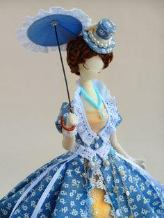 Купить Текстильная кукла.Тряпиенс.Лола - голубой, тряпиенс, корейские тряпиенсы, интерьерная кукла ♡