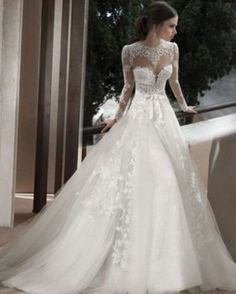 New Sheer Lace Applique Wedding Dresses Bridal Gowns Custom Size 2 4 6 8 10 12+