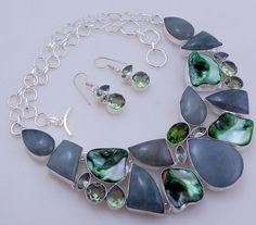 free shipping 120 gram stunning milky AQUAMARINE-GREEN AMETHYST-biwa .925 sterling silver handmade  necklace with earring by OCEANJEWELLERS on Etsy