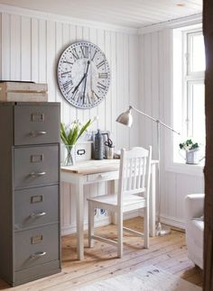desk arrangement & white chair with painted filing cabinet? YES!!!