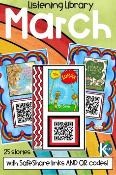 A March Listening Center: 25 March read alouds-- stories with SafeShare QR codes and hyperlinks for Dr. Seuss and St. Patrick's Day read aloud videos. This is a great resource for your literacy centers, Daily 5 rotations and whole group lessons. Assign a read aloud and a simple story map for students to complete and assess their comprehension. Great listening activities for kids if you use QR codes in the classroom.