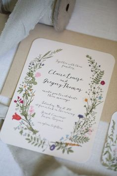 Wildflower Wedding Invitation with RSVP card by ChelsiLeeDesigns