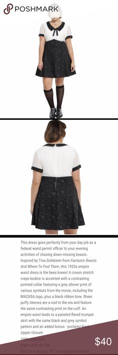 Fantastic Breast Tina Pin-Up Collared Dress NWT Women's Fantastic Breast & Where to Fund them Tina Pin-Up Plus Size 2X Dress, Black & White Collared. Additional details attached in Pictures. Hot Topic Dresses Midi