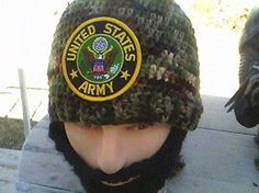 ARMY Bearded Beanie,Quality ARMY Beard Beanie,Military FashionableBeanie,Velcro Both Sides of Beard and Beanie4PerfectFit,CheckAll 5Pictures by DwedgeCreations on Etsy