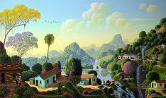 Painting the Valley's Waterfalls by Edivaldo Barbosa de Souza - GINA Gallery of International Naive Art