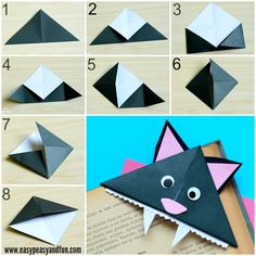 Cat Corner Bookmarks - Halloween Origami for Kids - Easy Peasy and Fun
