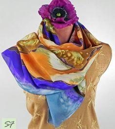 Purple Brown Silk Scarf, Hand Painted Silk Scarf, Scarf Shawl Unique Scarves, Design Scarves, Batik Scarf, Wrap, Long, Large, Idea Gifts by SilkFantazi on Etsy