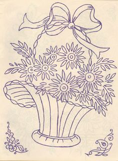 Basket Floral Embroidery Patterns, Rose Embroidery, Hand Embroidery Stitches, Hand Embroidery Designs, Vintage Embroidery, Cross Stitch Embroidery, Flower Art Drawing, Bordados E Cia, Chicken Scratch Embroidery