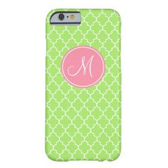 Monogram Green Quatrefoil Pattern iPhone 6 Case