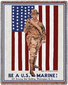 Personalized Be A US Marine Military Tapestry Throw